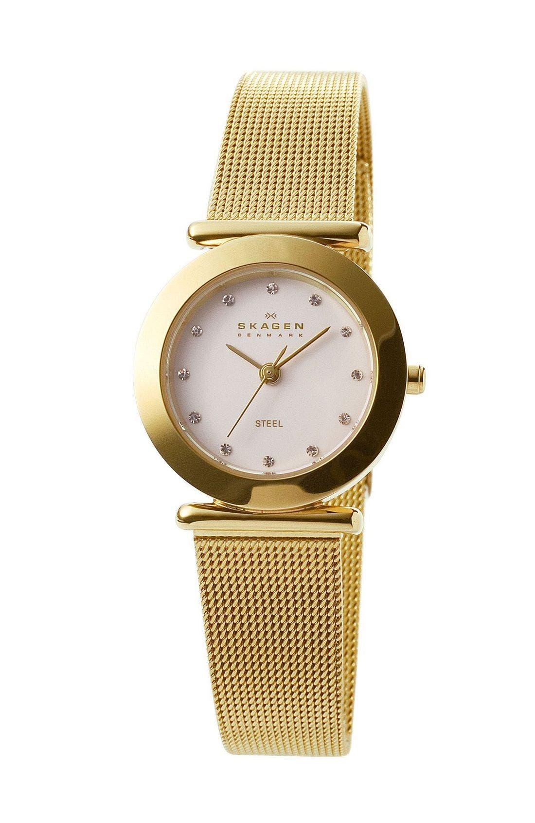 Alternate Image 1 Selected - Skagen Ladies' Gold Mesh Watch