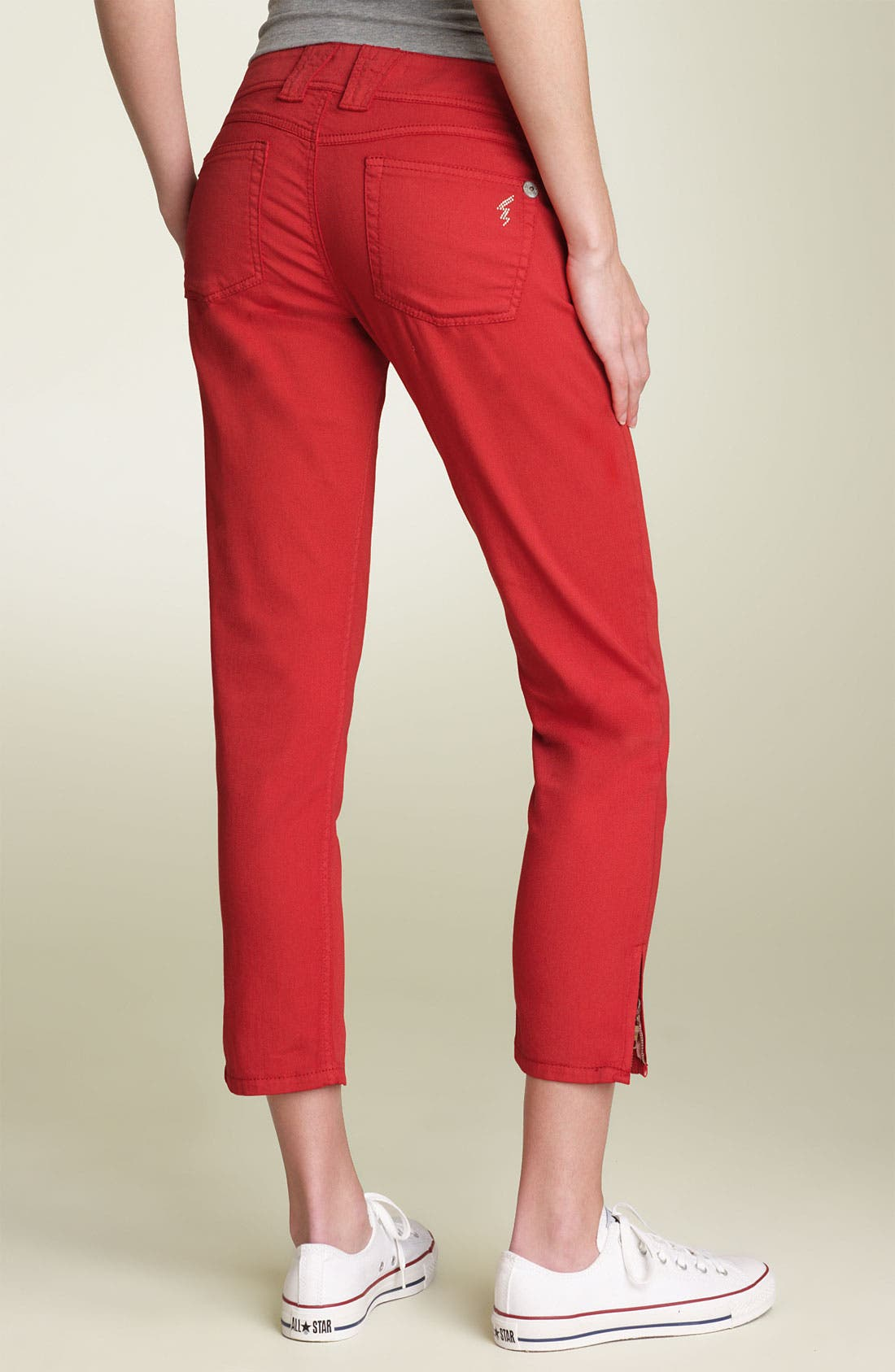 Main Image - Jolt Zip Hem Skinny Stretch Jeans (Juniors)