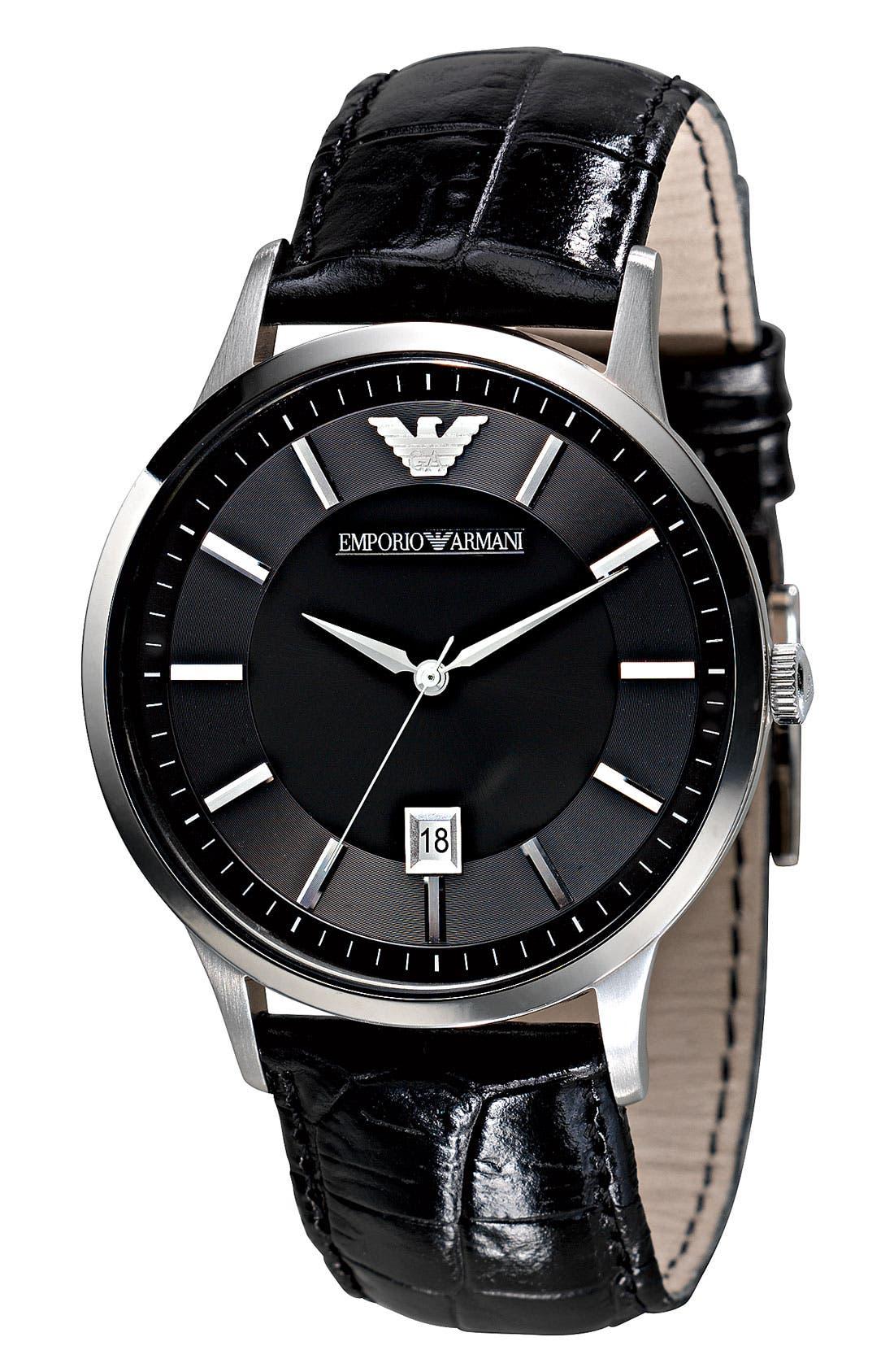 Alternate Image 2  - Emporio Armani Slim Leather Strap Watch, 43mm