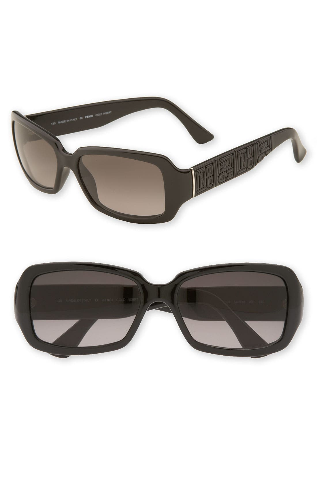 Alternate Image 1 Selected - Fendi Logo Imprint Square Frame Sunglasses