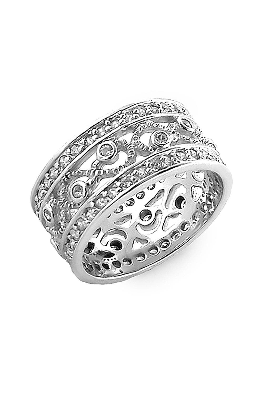 Main Image - Ariella Collection Cubic Zirconia Cigar Band Ring