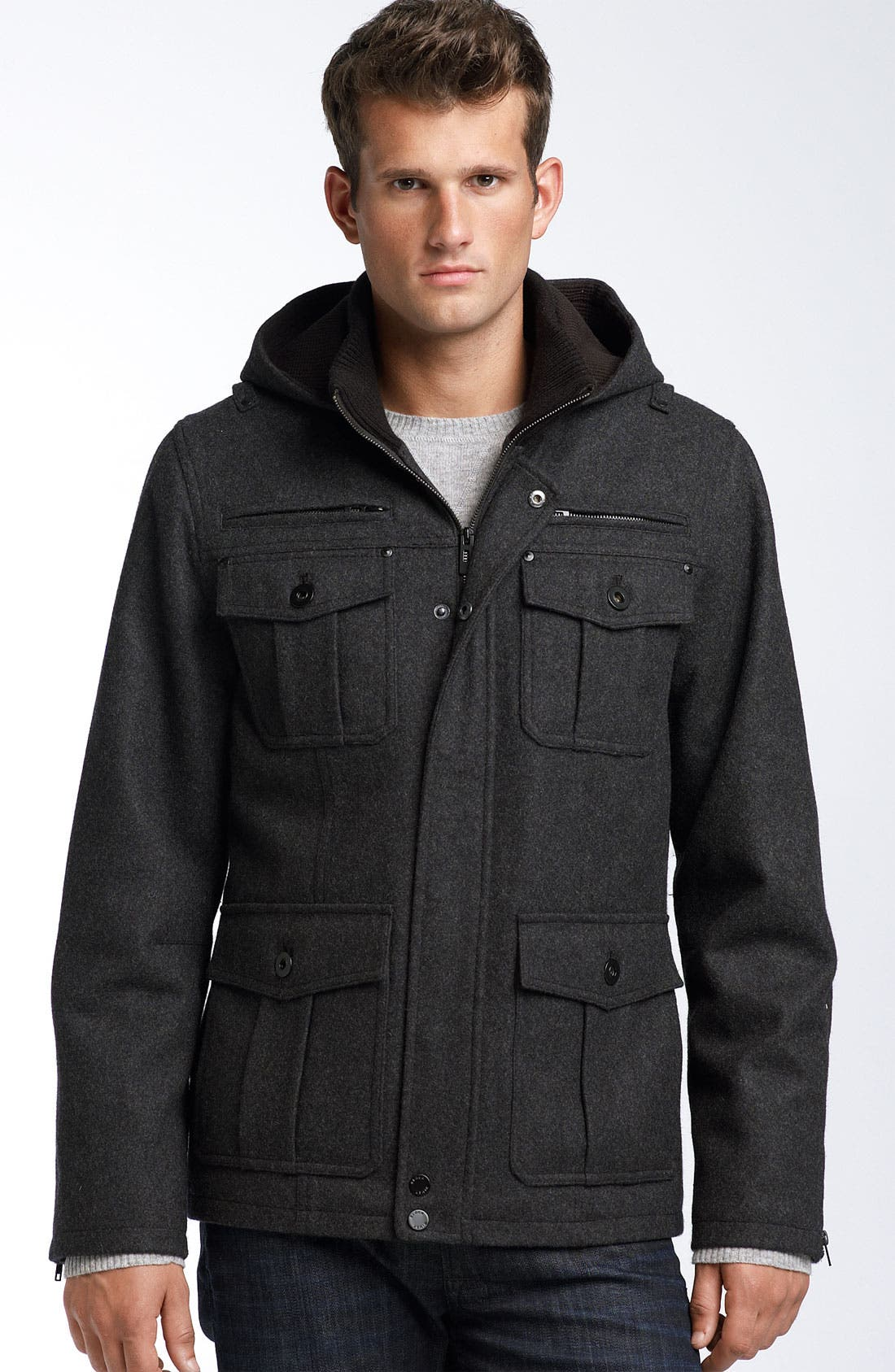 Alternate Image 1 Selected - Black Rivet Hooded Military Coat
