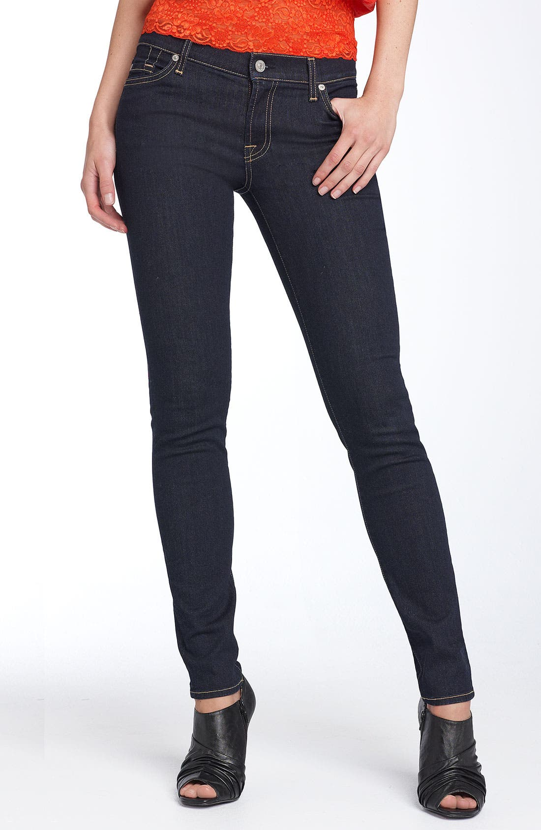 Alternate Image 1 Selected - 7 For All Mankind® 'The Skinny' Stretch Jeans (Rinsed Indigo)