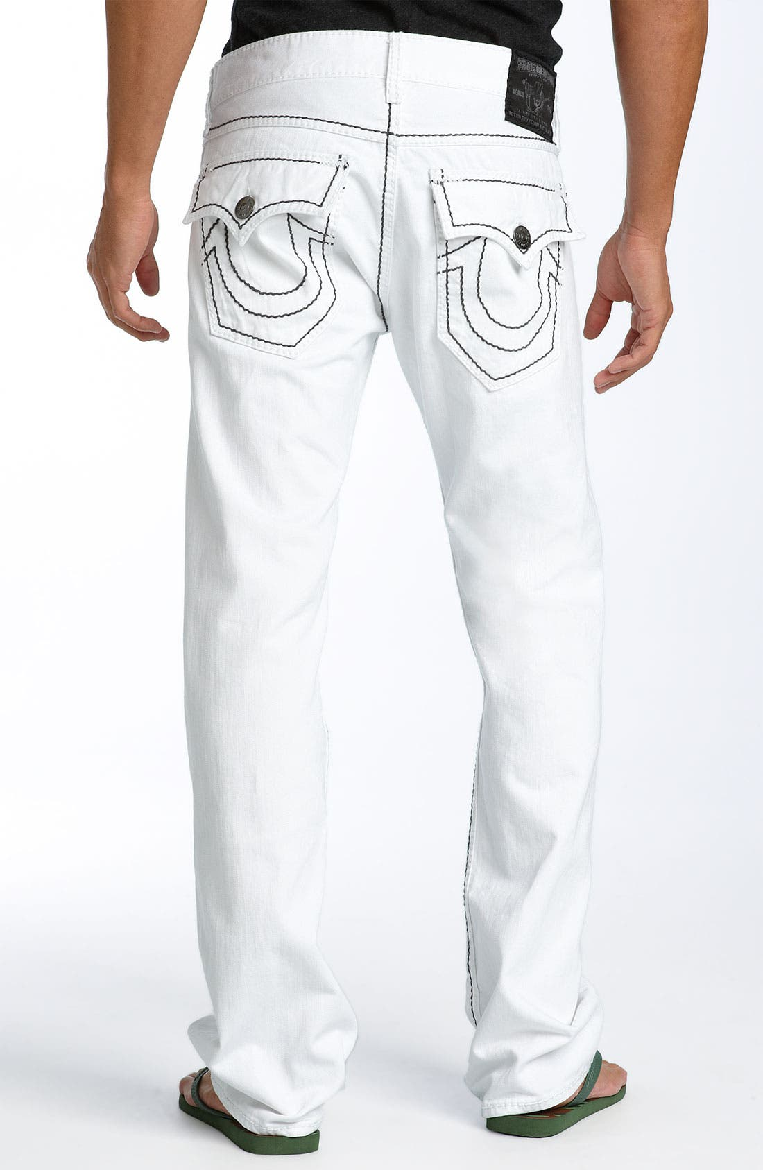 Main Image - True Religion Brand Jeans 'Ricky - Giant Big T' Straight Leg Jeans (Body Rinse Wash)