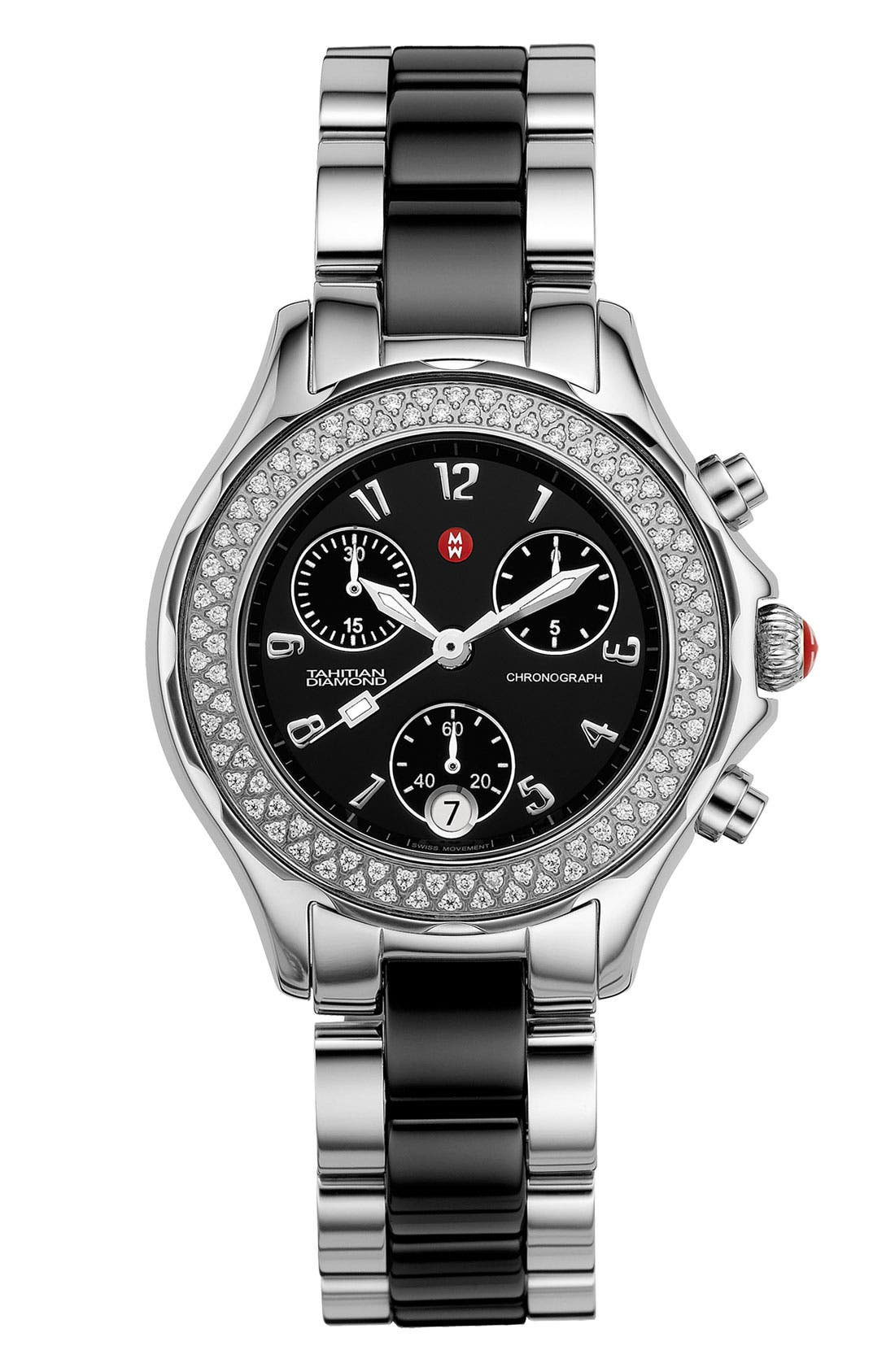 Alternate Image 1 Selected - MICHELE 'Tahitian' Stainless Steel Ceramic Diamond Watch, 35mm