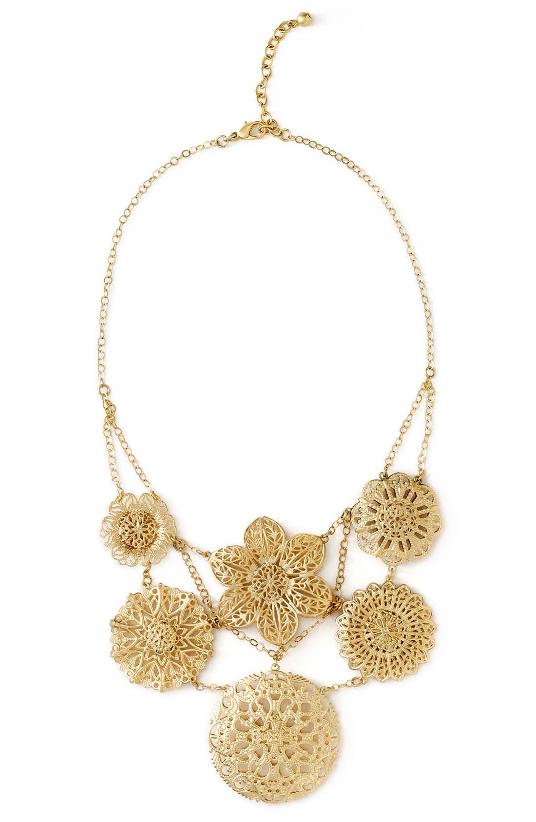 Goldtone Bib Necklace,                             Main thumbnail 1, color,                             Gold Floral