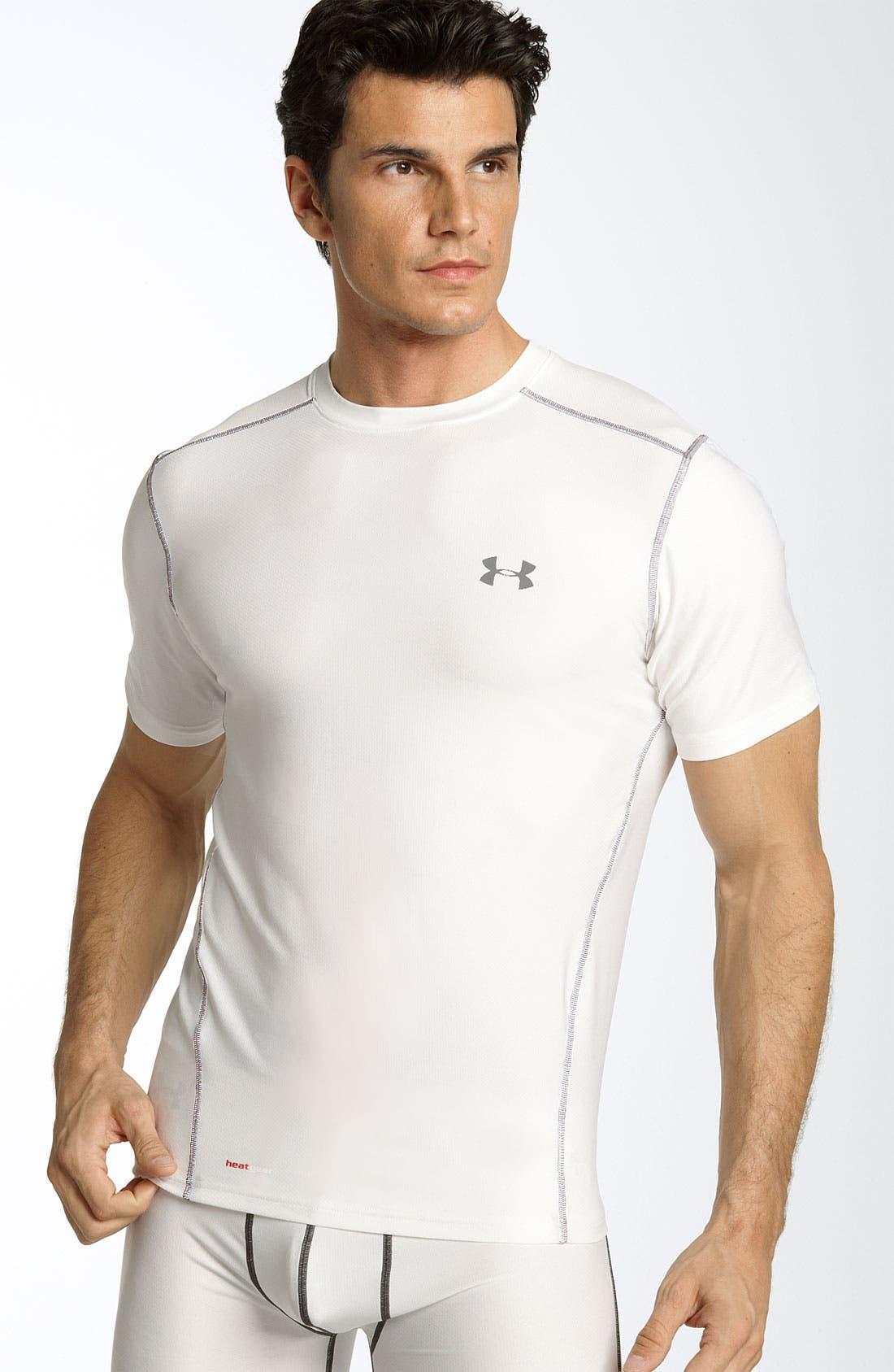 UA Tech<sup>™</sup> HeatGear<sup>®</sup> Fitted T-Shirt,                             Main thumbnail 1, color,                             White / Aluminum / Steel