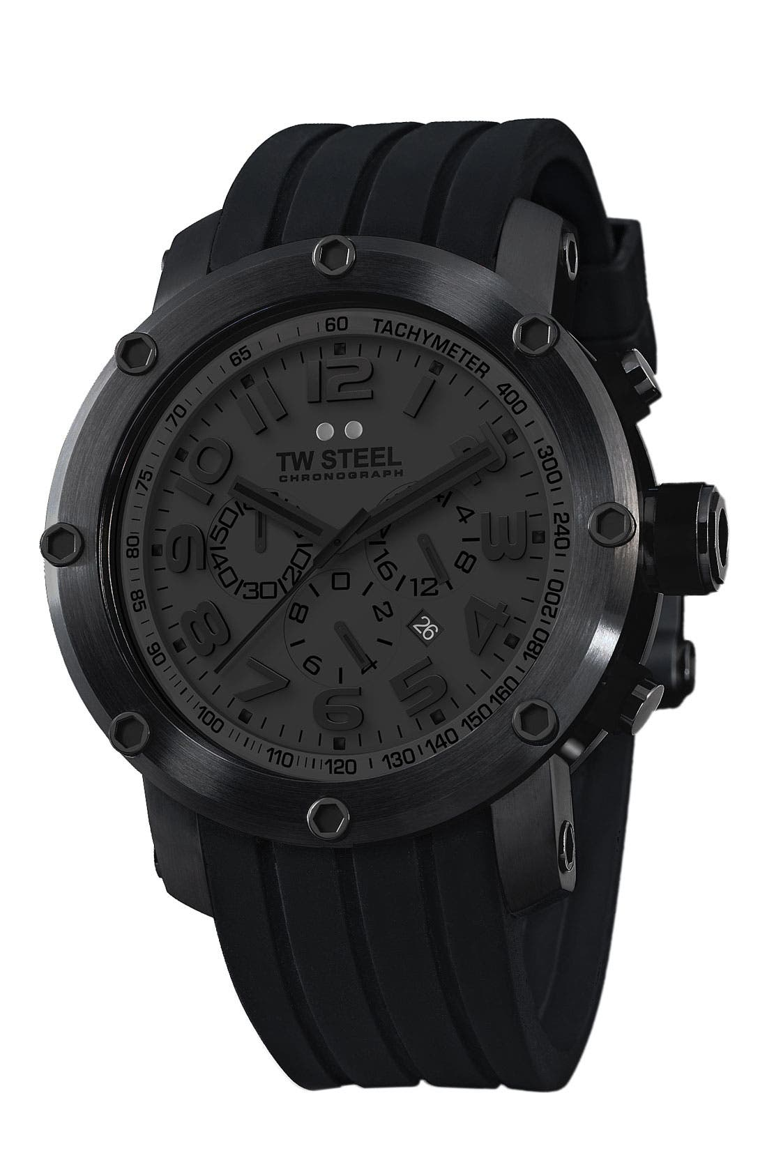 Alternate Image 1 Selected - TW Steel Rubber Strap Chronograph Watch