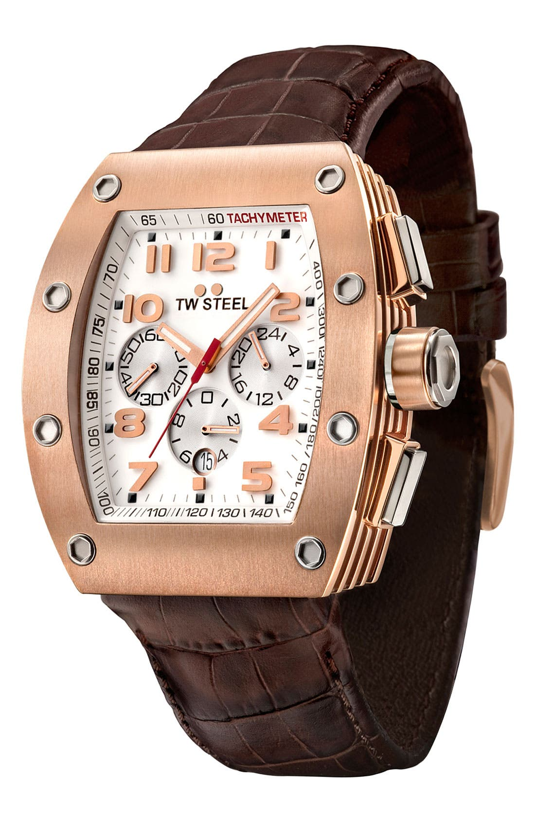 Alternate Image 1 Selected - TW Steel Leather Strap Chronograph Watch