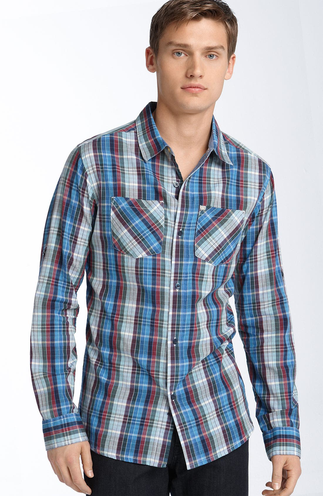 'Oleary' Plaid Shirt,                         Main,                         color, Navy