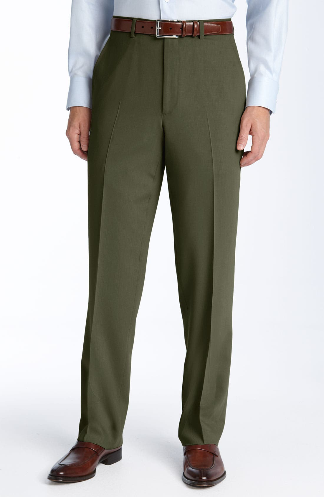 Flat Front Wool Trousers,                         Main,                         color, Olive