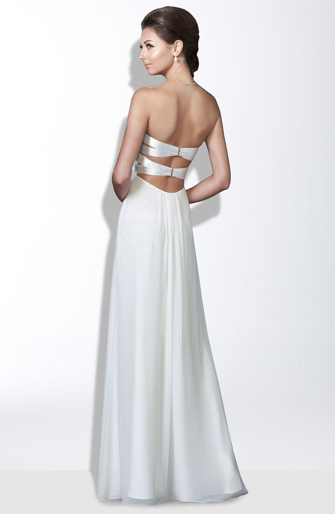 Alternate Image 2  - La Femme Crisscross Back Satin & Chiffon Gown