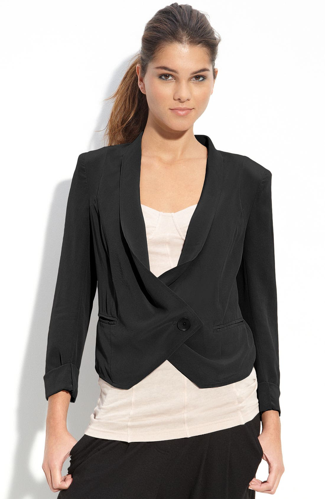 Alternate Image 1 Selected - Hinge® Draped Silk Crop Blazer