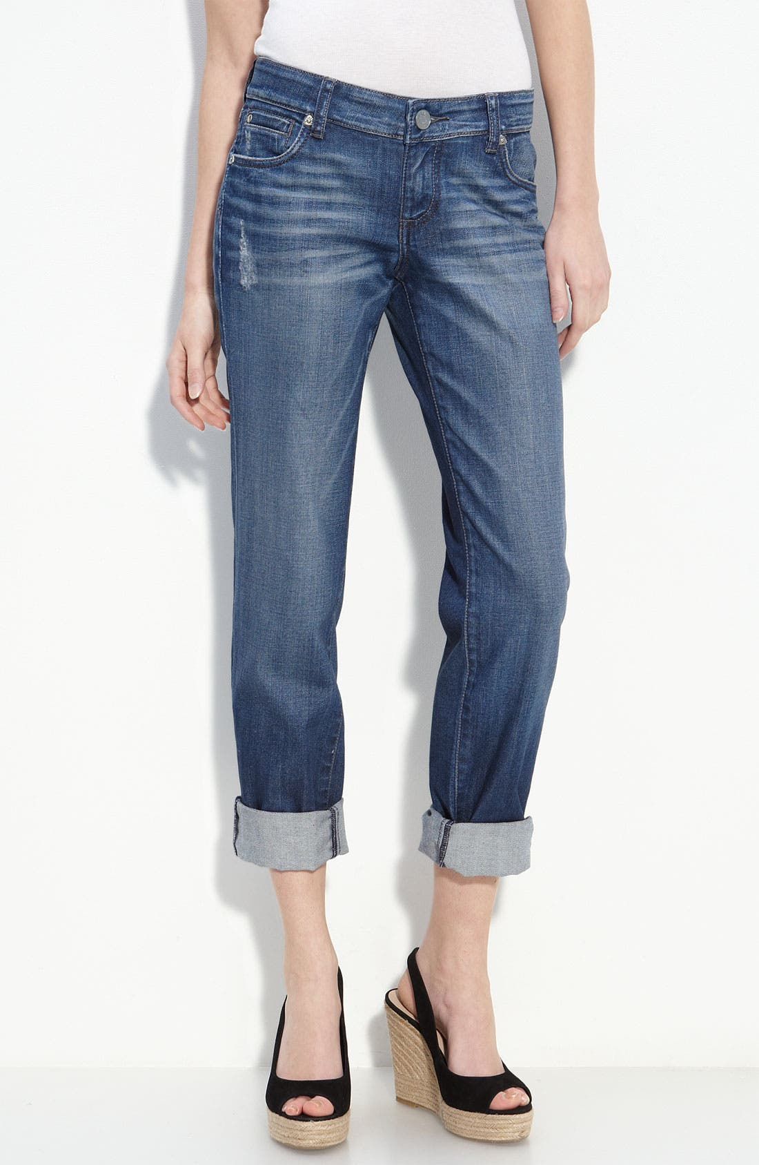 Alternate Image 1 Selected - KUT from the Kloth 'Roll-Up' Boyfriend Stretch Jeans (Indulgent Wash)