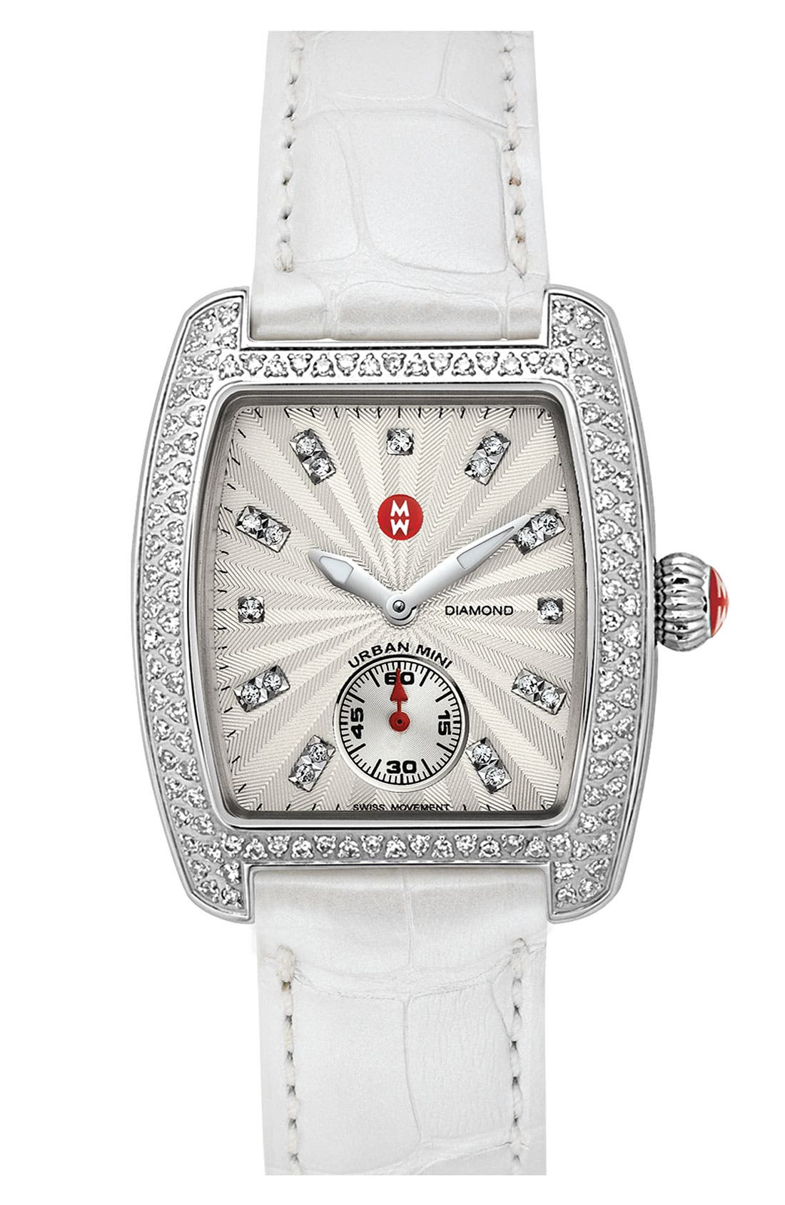 Alternate Image 2  - MICHELE 'Urban Mini Diamond' Diamond Dial Watch Case & 16mm White Alligator Strap