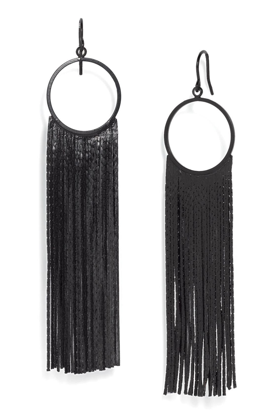 Main Image - Tarnish 'Brushed Metals' Circle Drop Fringe Earrings
