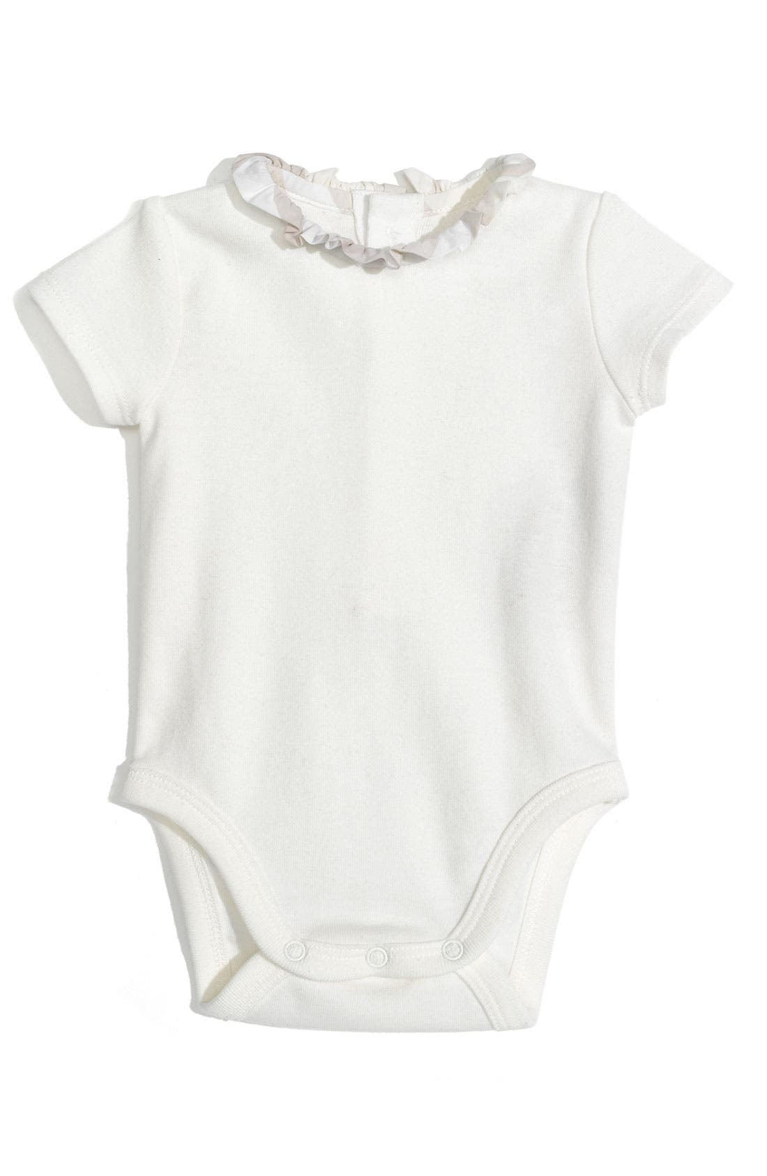 Alternate Image 1 Selected - Burberry 'Audrey' Ruffle Collar Bodysuit (Infant)