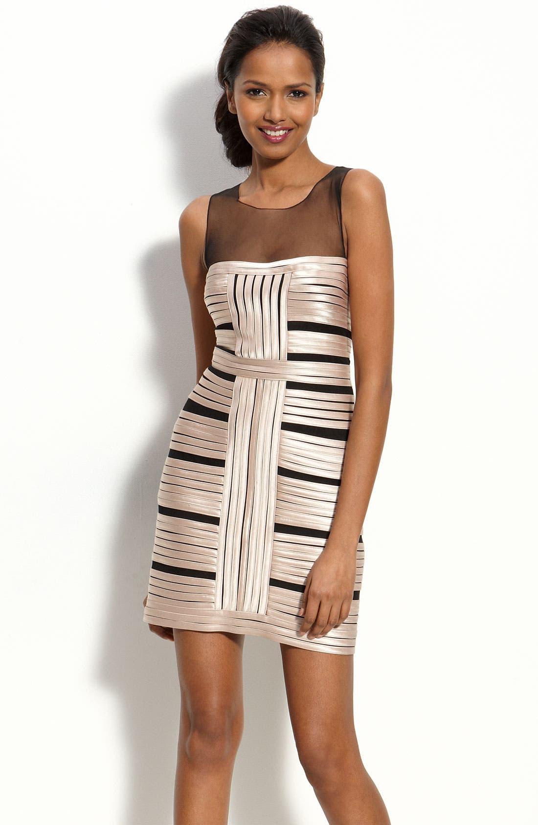 Main Image - BCBGMAXAZRIA Illusion Bodice Satin Stripe Sheath Dress
