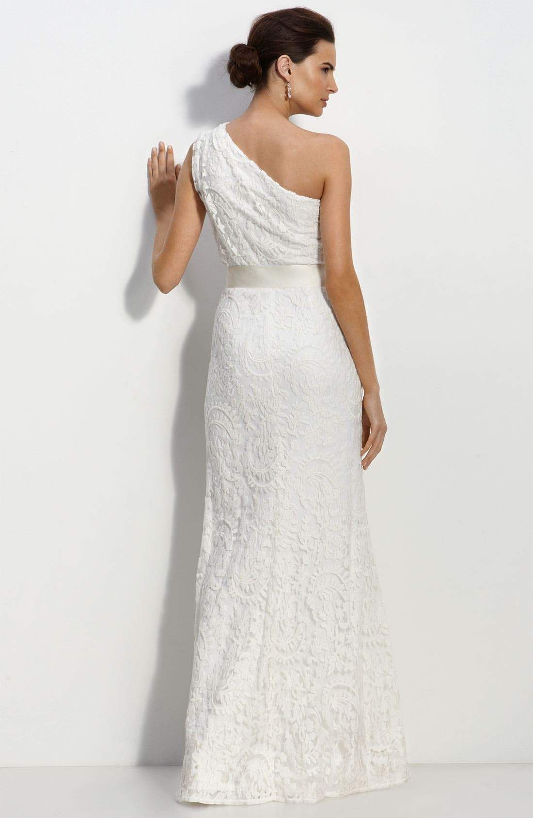 One Shoulder Lace Gown,                             Alternate thumbnail 2, color,                             Ivory