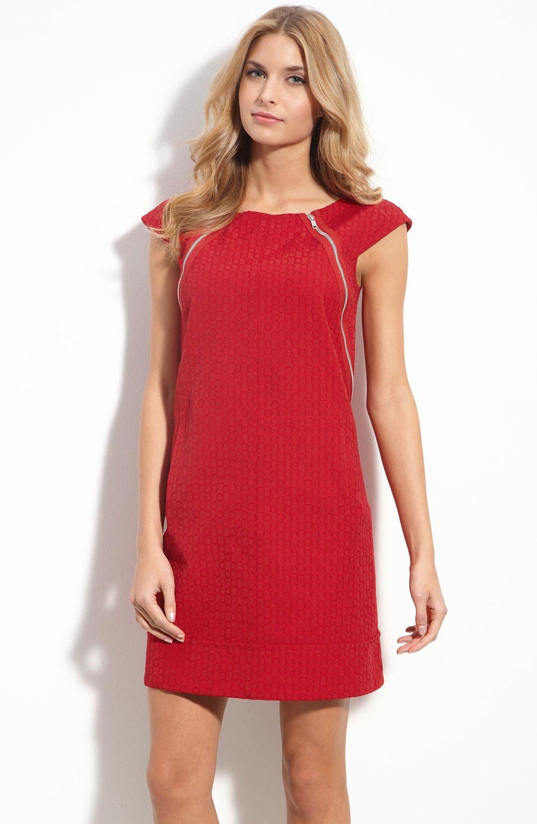 Main Image - Maggy London Zip Trim Jacquard Shift Dress