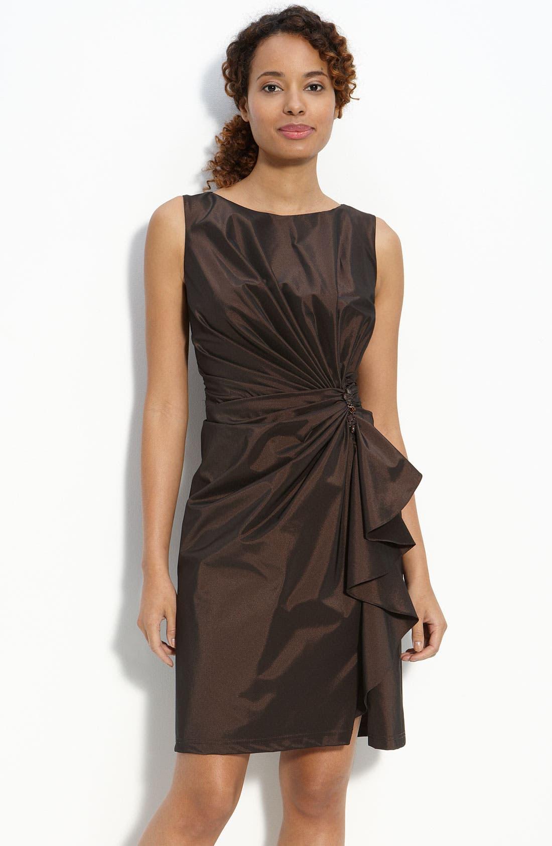 Ruffle Front Taffeta Sheath Dress,                             Main thumbnail 1, color,                             Umber