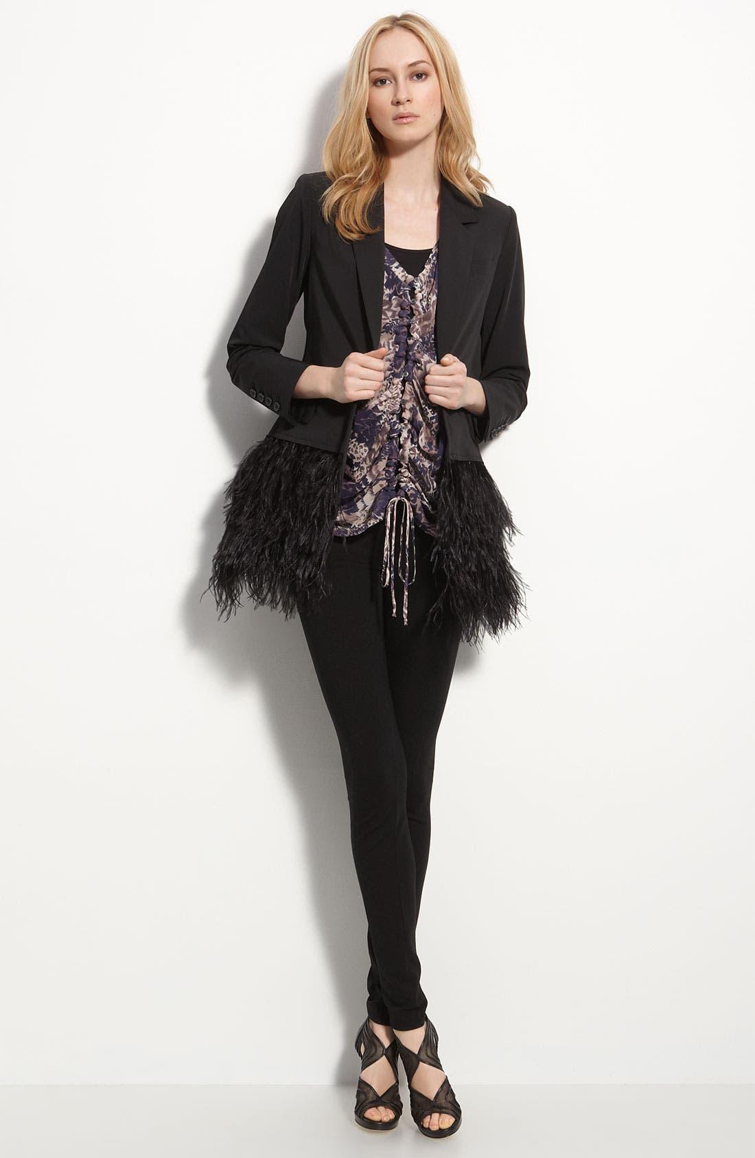 Alternate Image 1 Selected - Elizabeth and James 'James' Genuine Ostrich Feather Trim Blazer