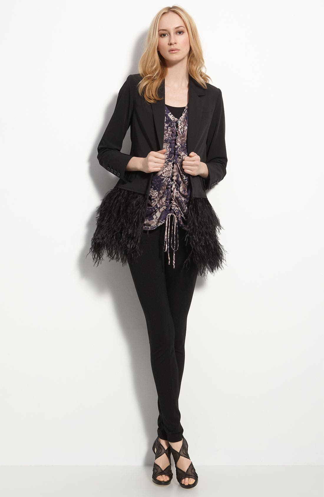 Main Image - Elizabeth and James 'James' Genuine Ostrich Feather Trim Blazer