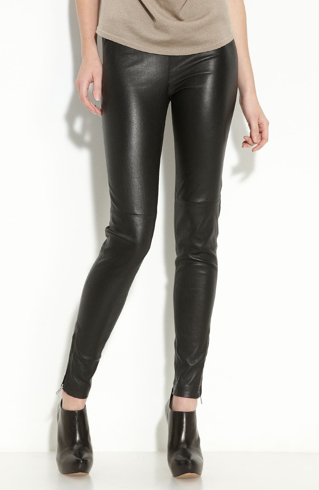 Zip Hem Leather Leggings,                             Main thumbnail 1, color,                             Black