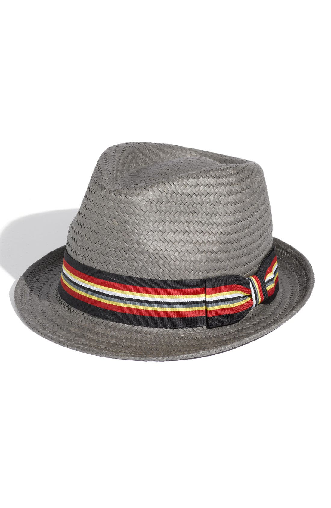 Paper Straw Fedora,                         Main,                         color, Grey