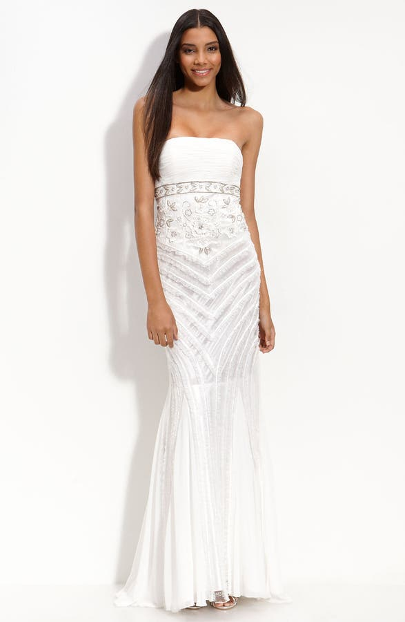 Main Image Sue Wong Bead Ruffle Embellished Gown