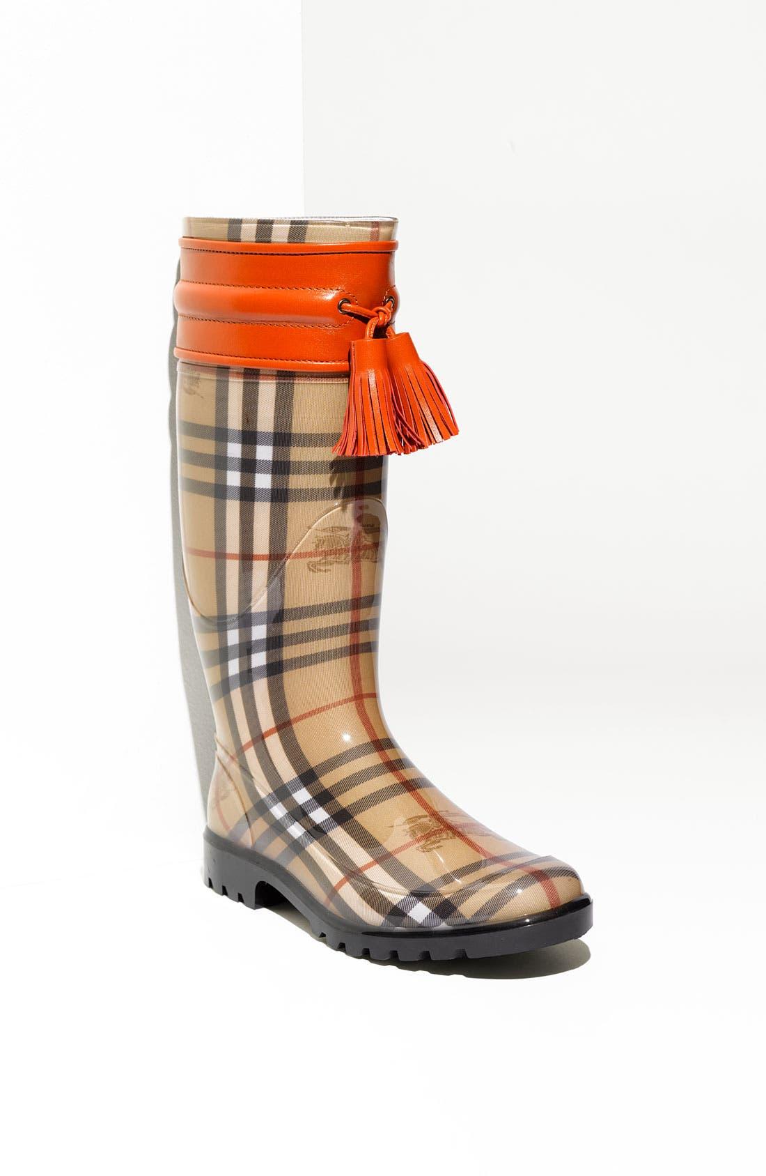 Alternate Image 1 Selected - Burberry Leather Trim Rain Boot