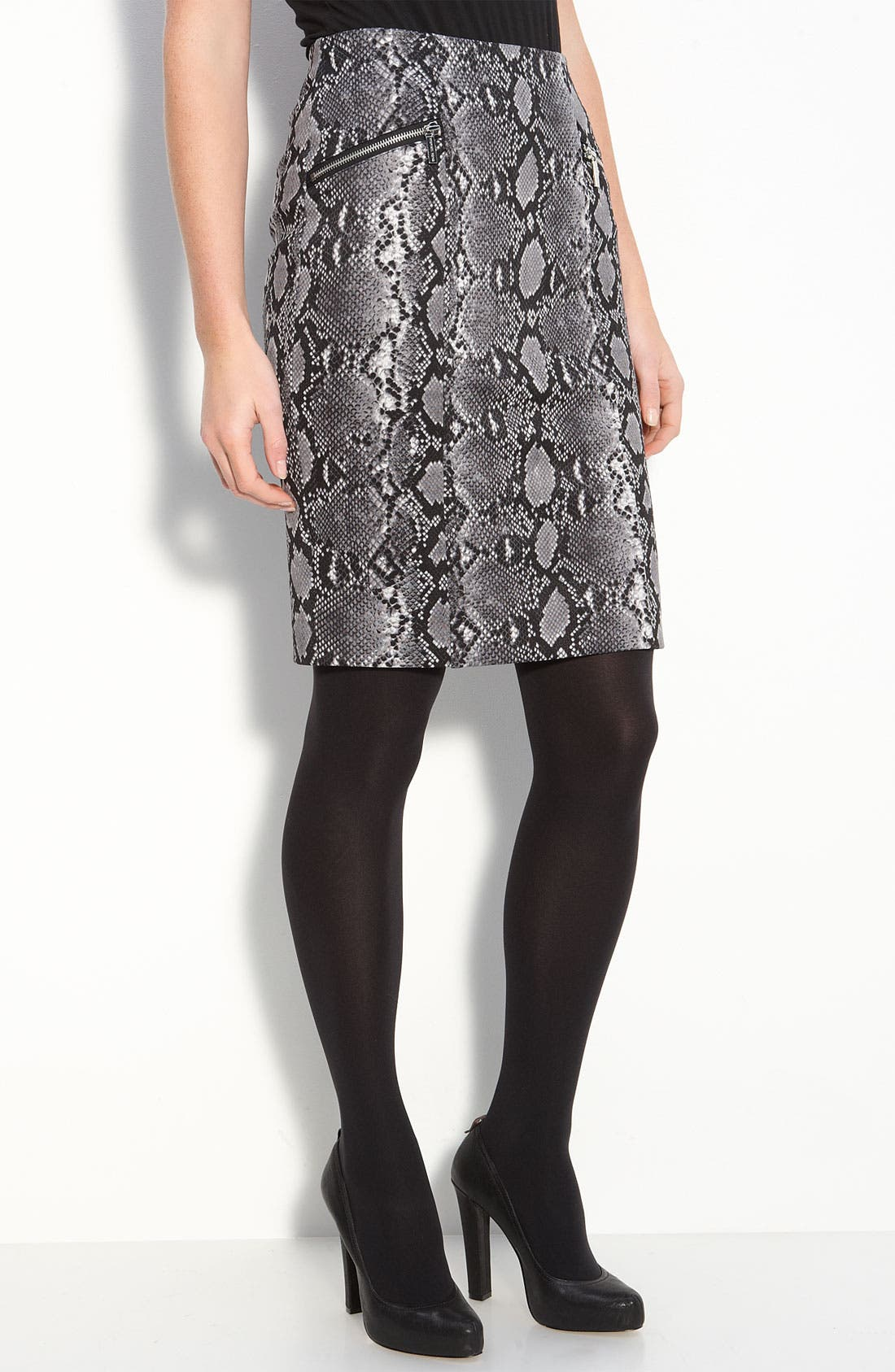 Python Print Skirt,                             Main thumbnail 1, color,                             Gunmetal