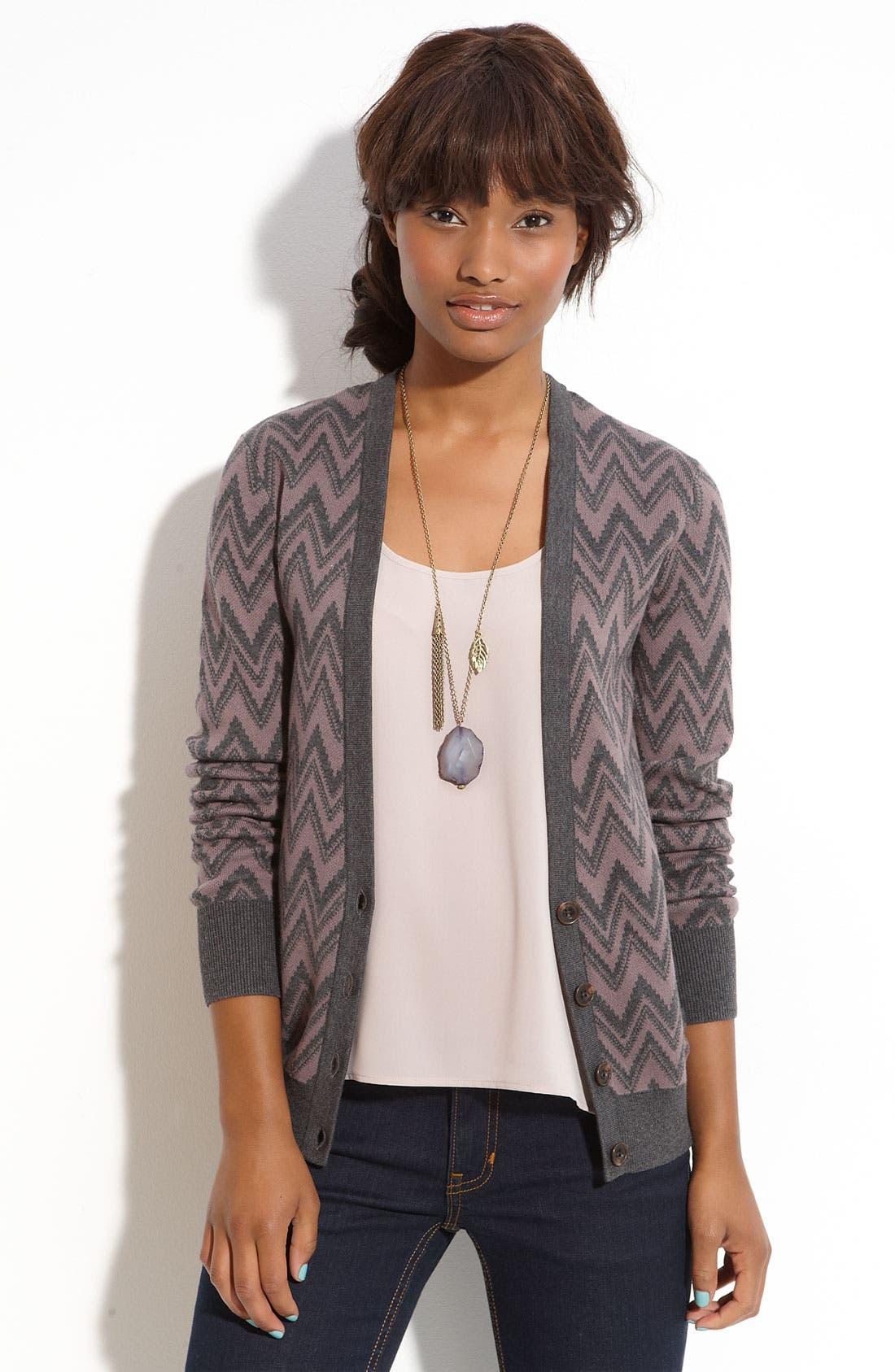 Alternate Image 1 Selected - Frenchi® Zigzag Stripe Cardigan (Juniors)