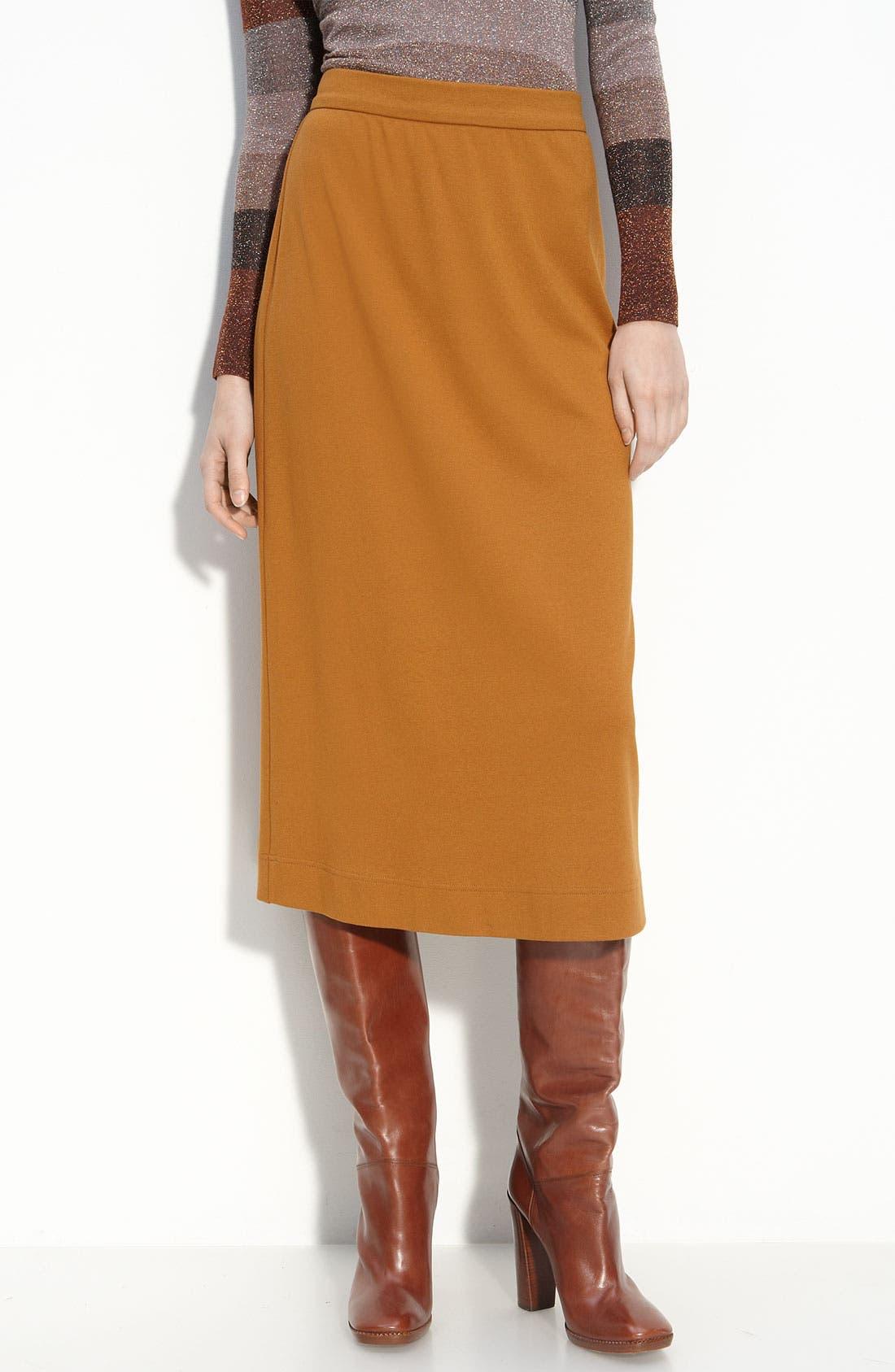 'Hopper' Interlock Knit Midi Skirt,                             Main thumbnail 1, color,                             Woodruff