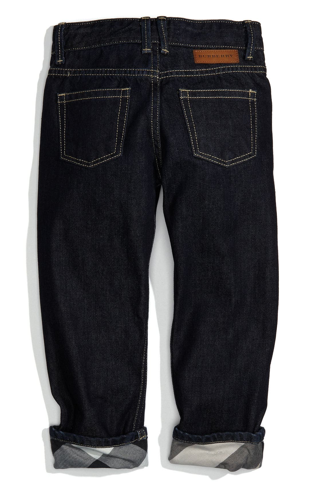 Alternate Image 1 Selected - Burberry Check Lined Jeans (Toddler)