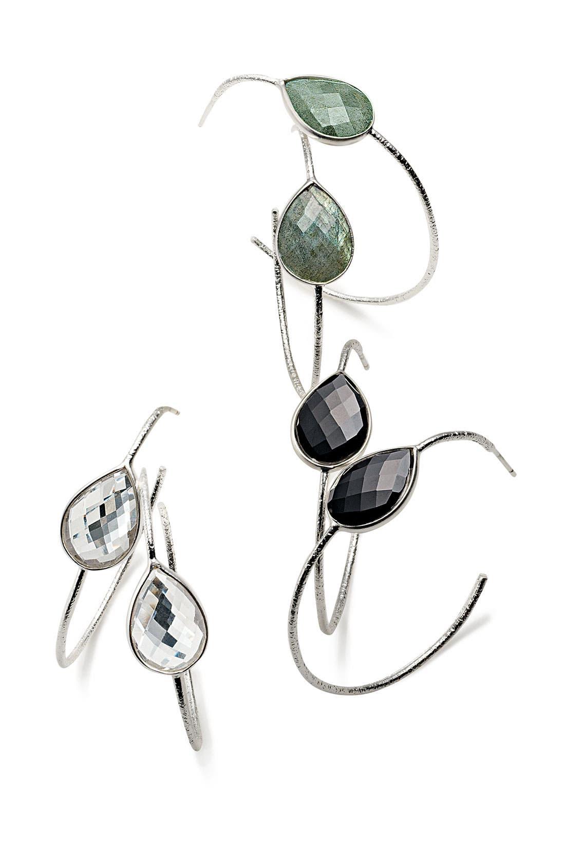 Alternate Image 3  - NuNu Designs Teardrop Stone Hoop Earrings (Nordstrom Exclusive)
