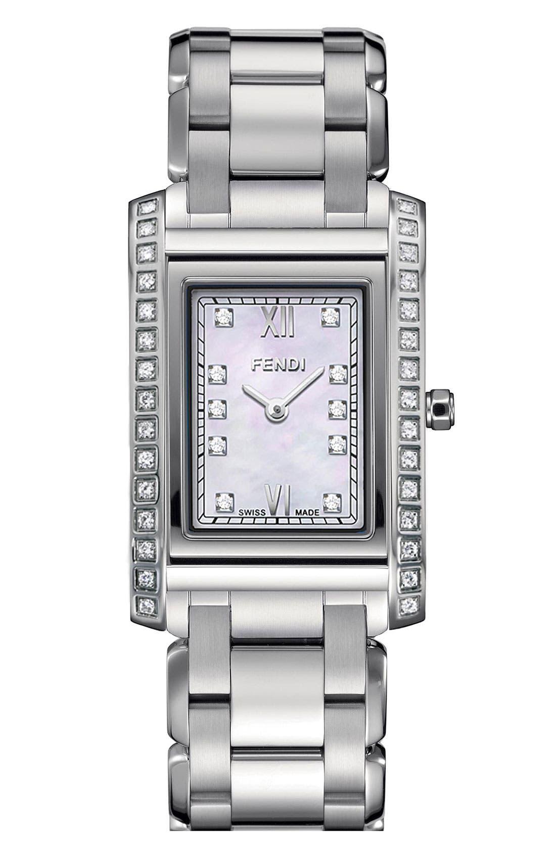 Alternate Image 1 Selected - Fendi 'Loop - Small' Diamond Bracelet Watch, 21mm x 34mm