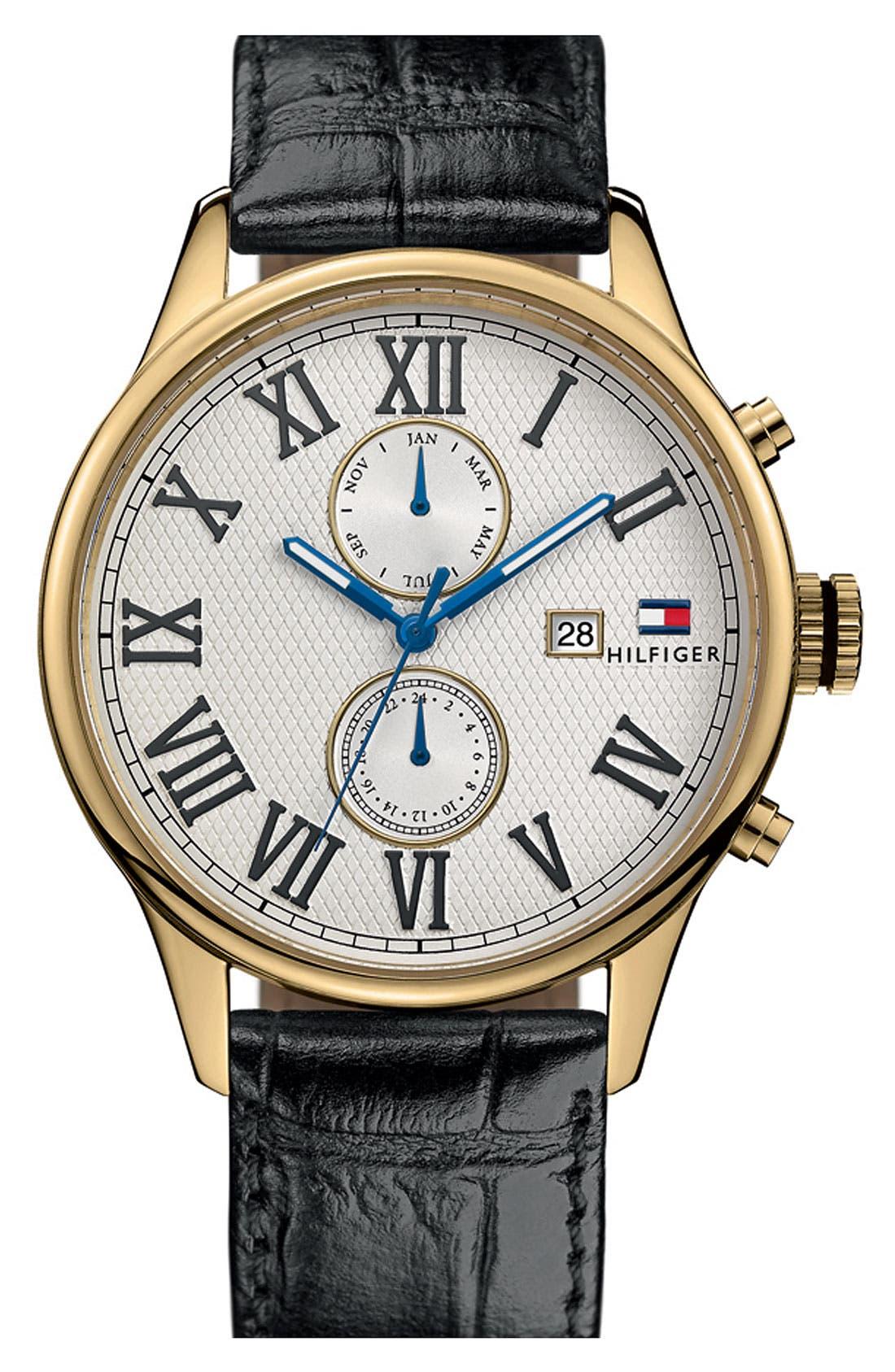 Main Image - Tommy Hilfiger Multi Eye Leather Strap Watch, 44mm