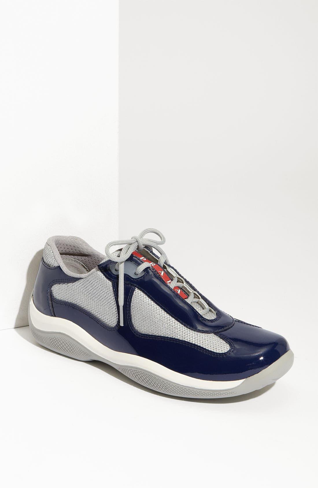 Alternate Image 1 Selected - Prada Patent Leather & Mesh Sneaker