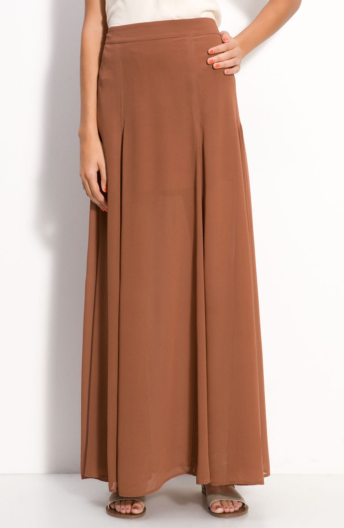 Alternate Image 1 Selected - Frenchi® Half Sheer Chiffon Maxi Skirt (Juniors)