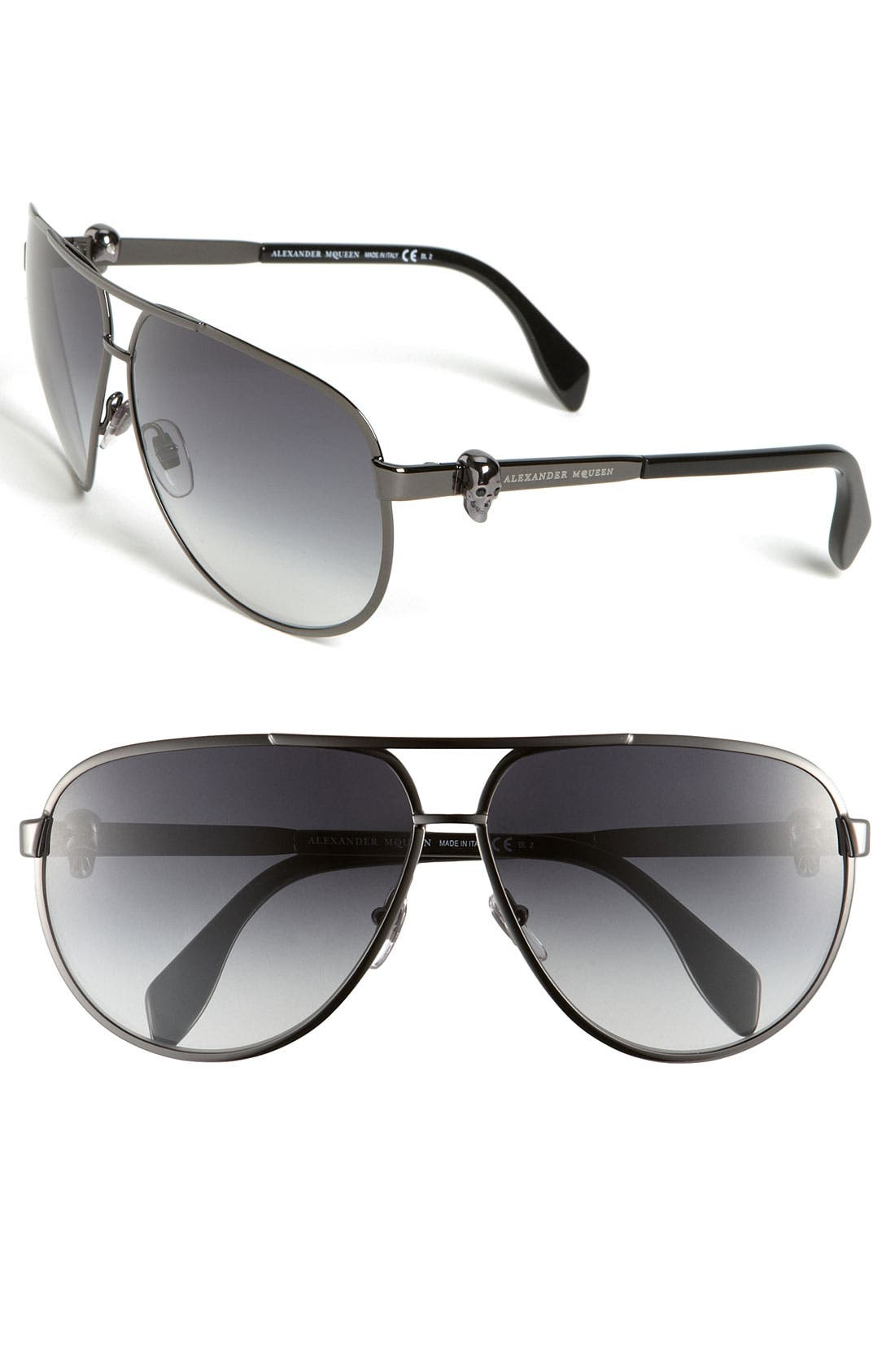 Main Image - Alexander McQueen 65mm Skull Temple Metal Aviator Sunglasses