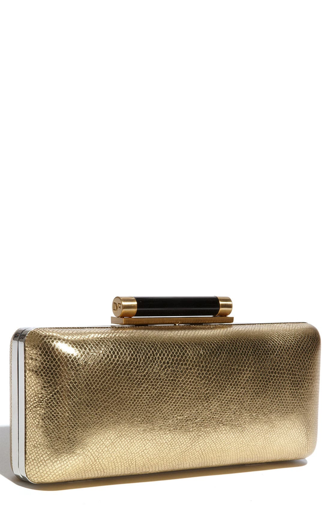 Main Image - Diane von Furstenberg 'Tonda' Metallic Leather Clutch