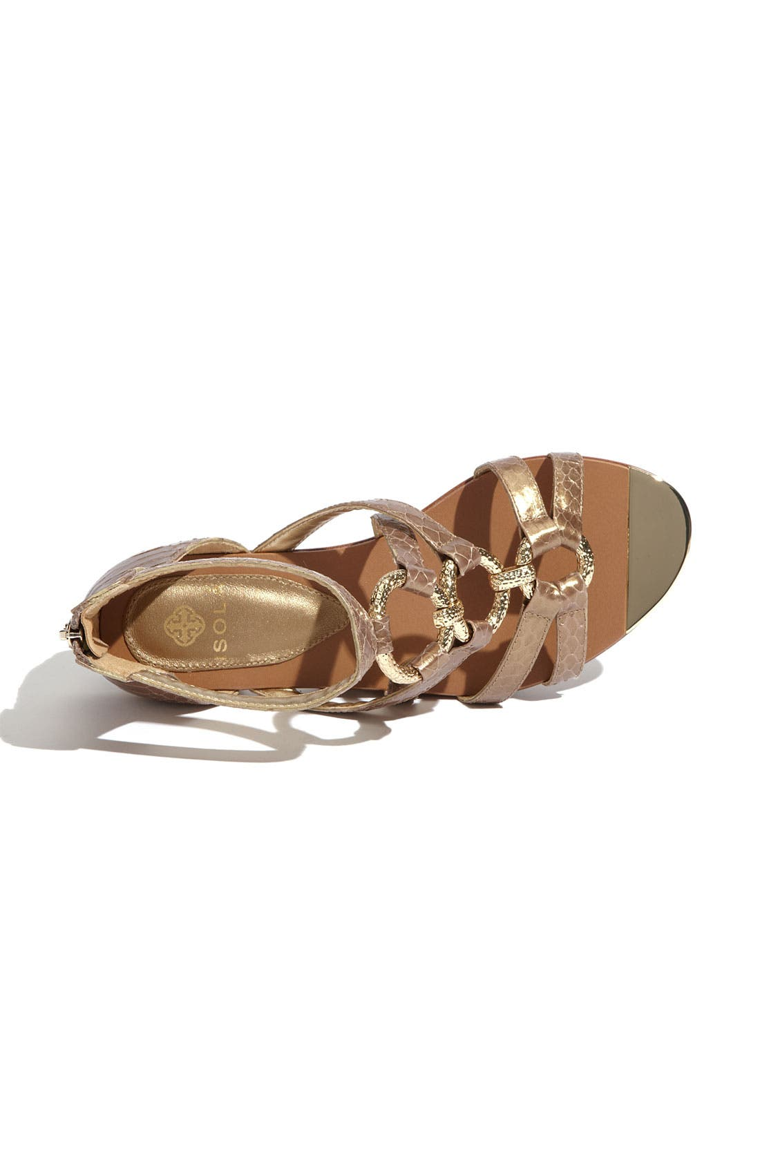 'Adriel' Flat Sandal,                             Alternate thumbnail 3, color,                             Gold Snake