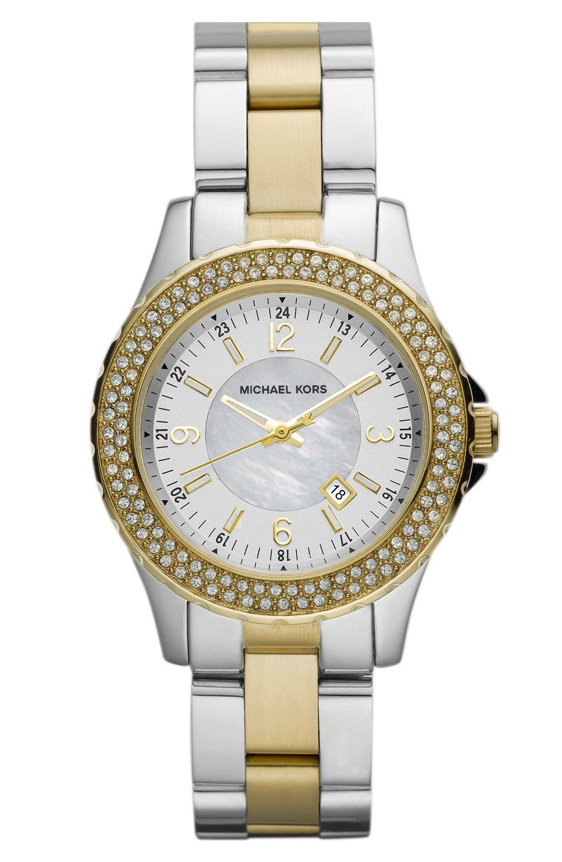 Michael Kors 'Mini Madison' Twin Row Crystal Watch, 33mm,                         Main,                         color, Gold/ Silver