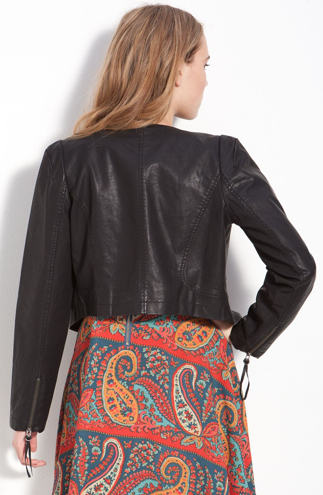 Alternate Image 2  - Free People Vintage Cropped Faux Leather Jacket