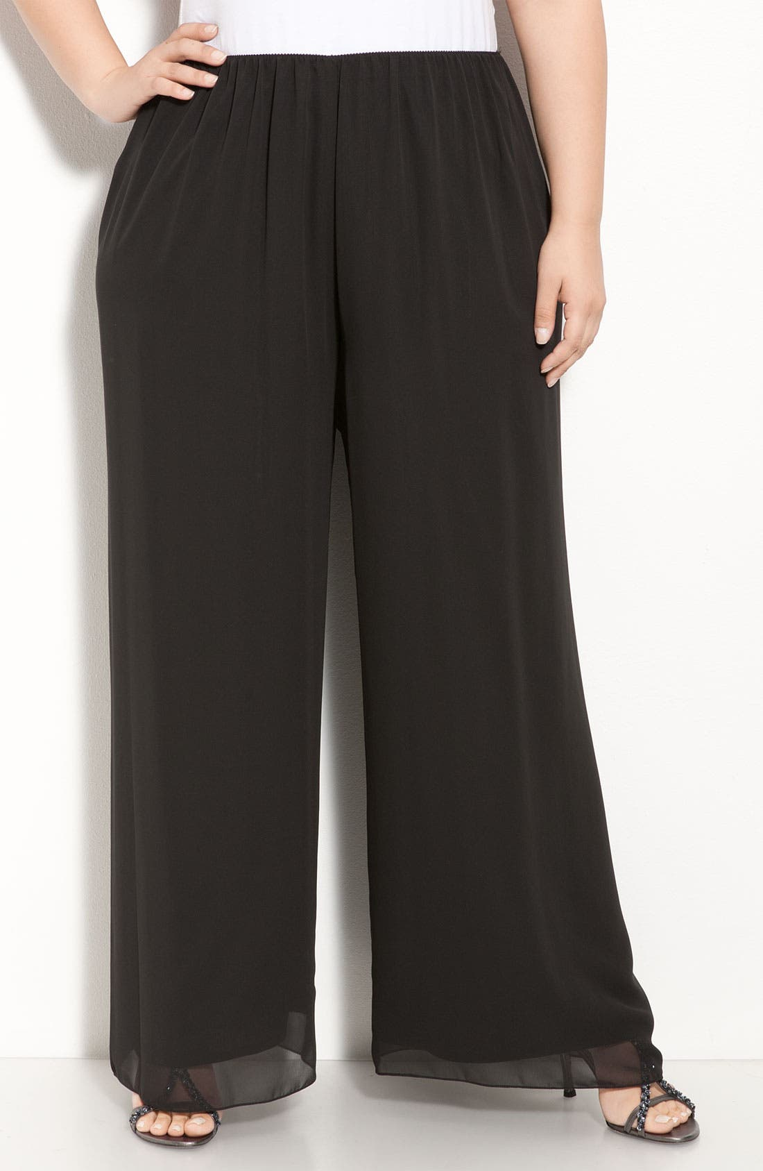 Main Image - Alex Evenings Chiffon Palazzo Pants (Plus Size)