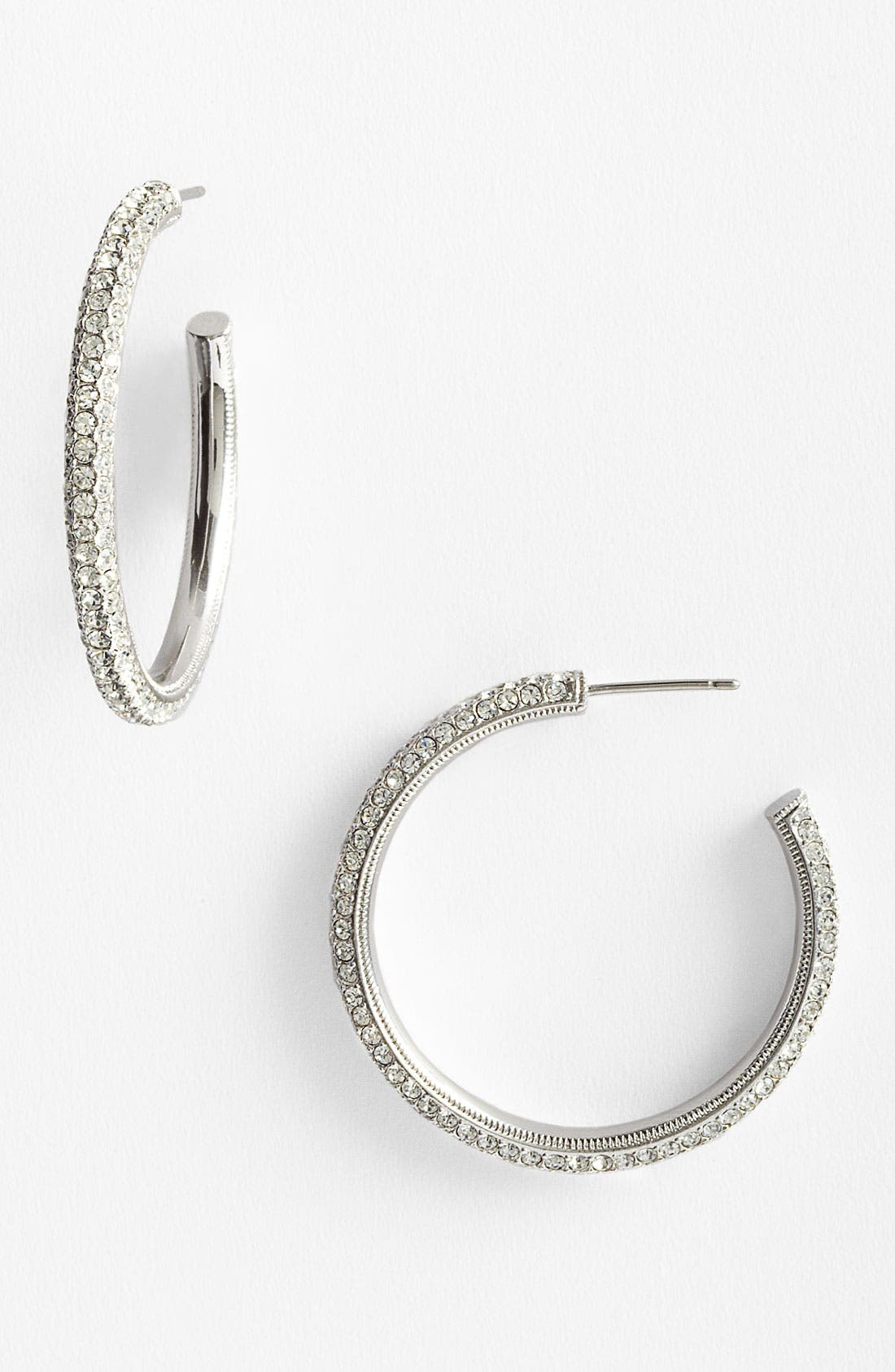 'Small Pavé Bombe' Hoop Earrings,                             Main thumbnail 1, color,                             Silver
