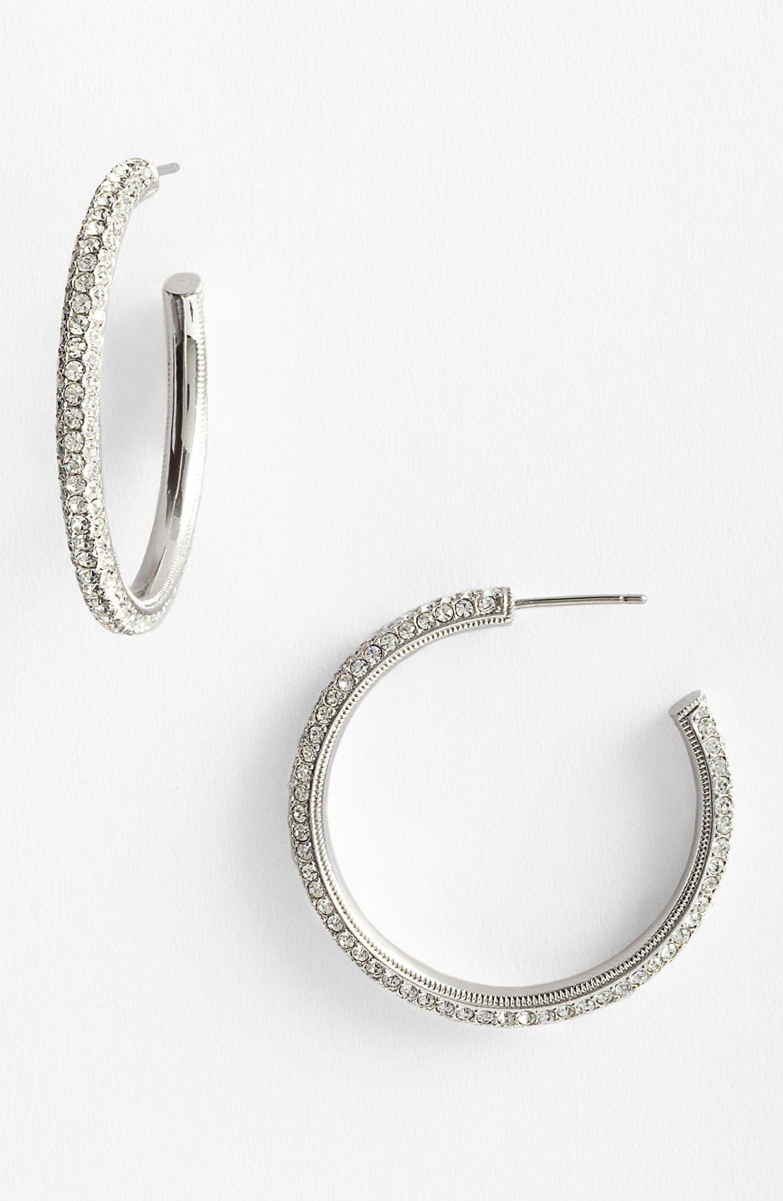 'Small Pavé Bombe' Hoop Earrings,                         Main,                         color, Silver