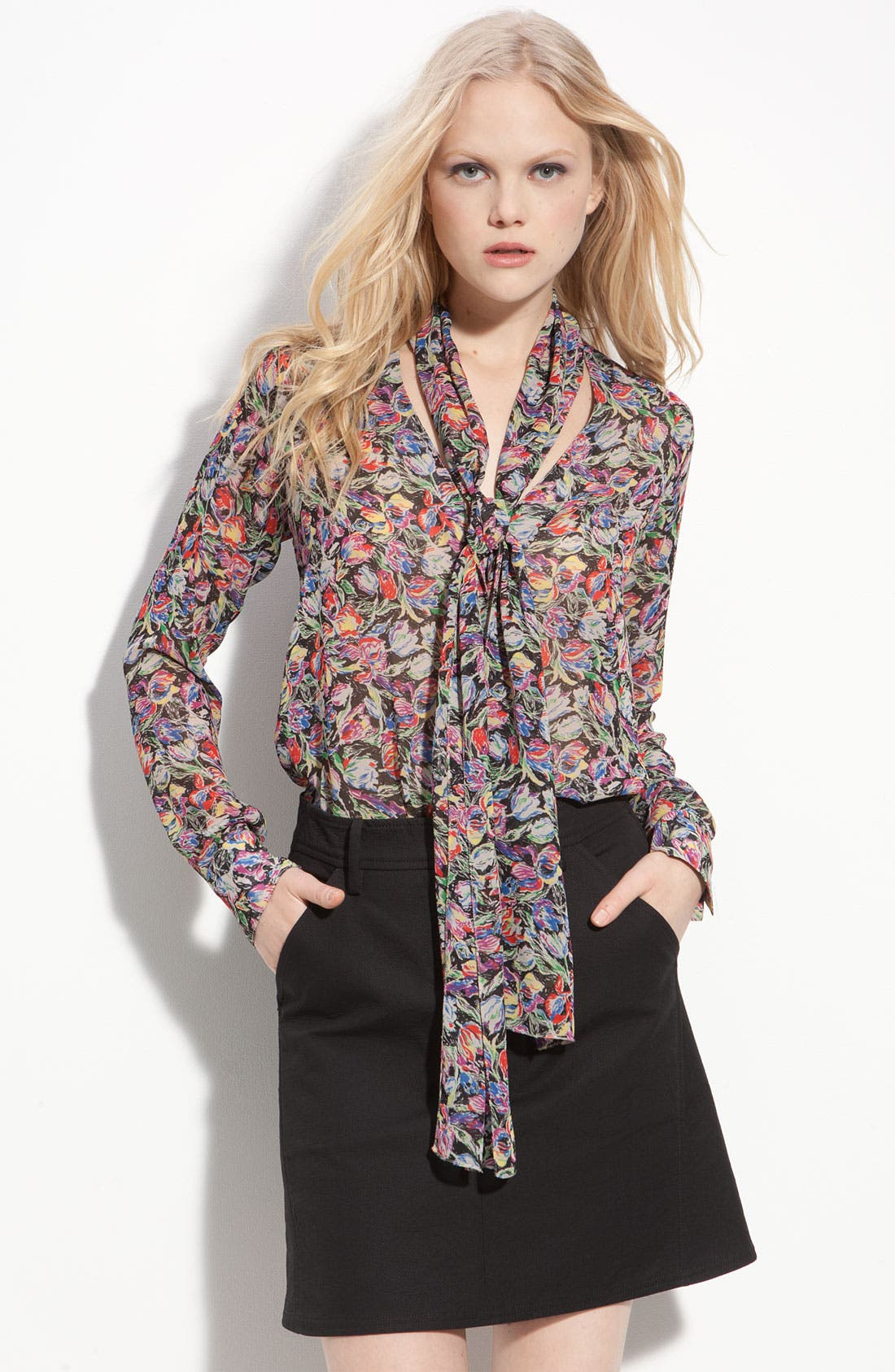 Main Image - Derek Lam 10 Crosby Sheer Floral Tie Neck Blouse