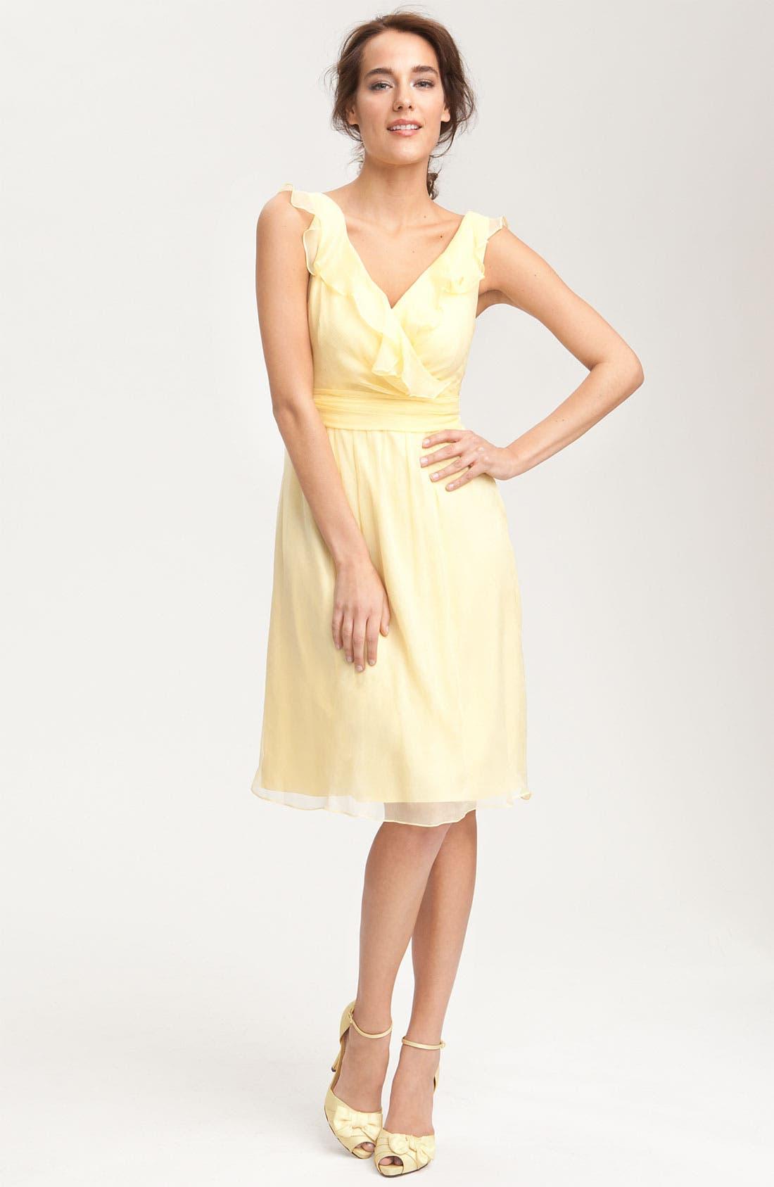Main Image - Amsale Ruffle Crinkle Silk Chiffon Dress
